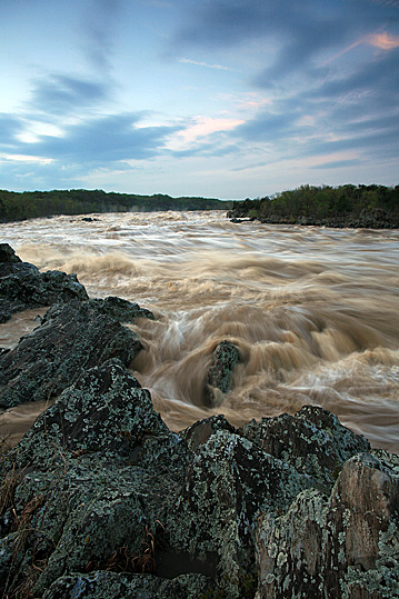 Great Falls Flooded During Sunset